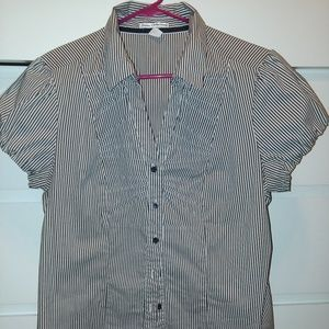 Pinstripe Fitted Button Down Short Sleeve Top